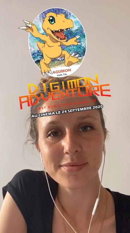 Filtre Digimon Instagram pour la sortie du film manga le 24 Septembre