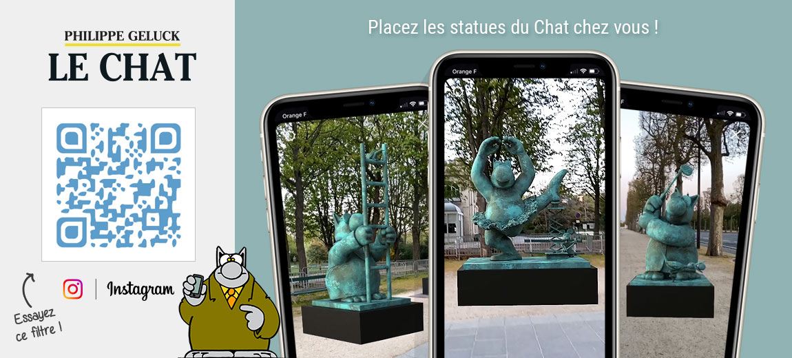 Essayez le filtre du Chat de Geluck et placez les statues chez vous !
