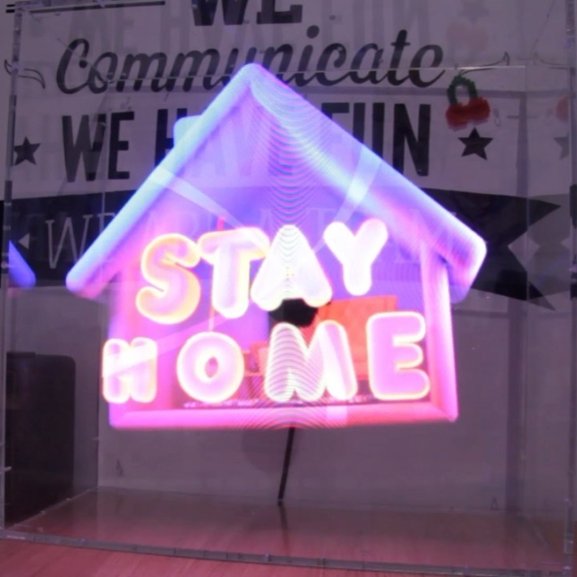Using Holographic Display for Security messages during Covid-19 Pandemic. #covid19 #hologram #holographicdisplay #3d #hypervsn #security #signaletic #design